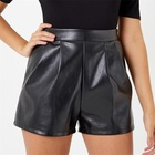 Custom side zip plain black blank leather shorts for ladies