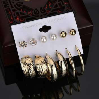 6 Pairs/Set Plated Gold Round Geometric Stud Earrings For Women Leaf Simulated Pearl Earrings Set