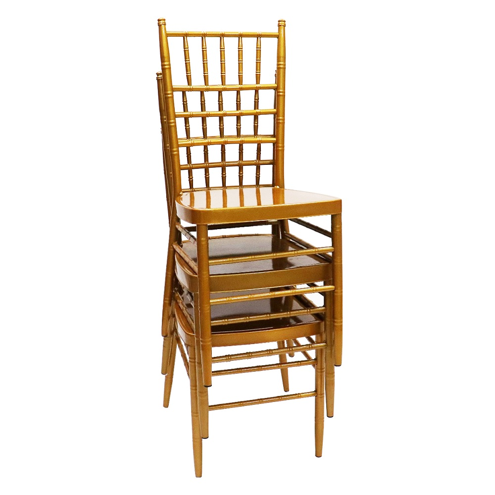 luxury gold steel stacking event party hotel furniture tiffany chiavari wedding chairs