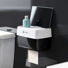 Новый держатель рулона туалетной бумаги для ванной комнаты, настенный пластиковый держатель для бумаги и телефона с полкой для хранения, бу...(Китай)