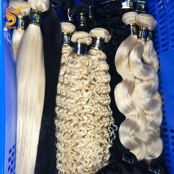 Wholesale 613 Cuticle Aligned Raw Virgin Hair, 40 Inch Russian Blonde Double Drawn Virgin Hair, 613 Blonde Human Hair Extension