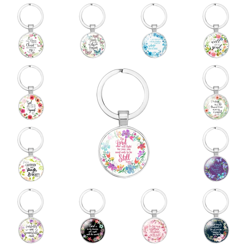Fashion Bible Verses Key Chain Keyrings Glass Dome Pendant Keychains Scripture Quote Jewelry Christian Faith Inspirational Gifts