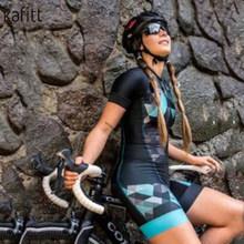 Kafitt летняя одежда для велоспорта женский костюм для велоспорта блейзер с короткими рукавами дорожный горный велосипед Подушка для езды шор...(Китай)