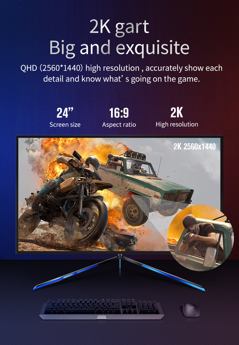 24 inch wall mounted 2k 144 hz gaming monitor with blue light support HD-MI DP Port