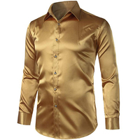 Trendy shiny high visibility men satin silk solid color long sleeve dress shirt