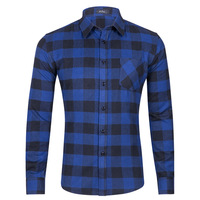 Good quality casual plaid denim shirts clothing mens long sleeve t shirt with great price