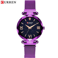 Новые роскошные женские часы CURREN, сетчатые женские часы с магнитной пряжкой, звездная Бриллиантовая Геометрическая поверхность, повседнев...(Китай)