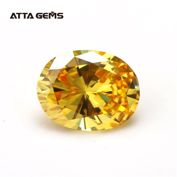 Synthetic Loose CZ Gemstone yellow Oval Cut Cubic <strong>Zirconia</strong> colored Stones