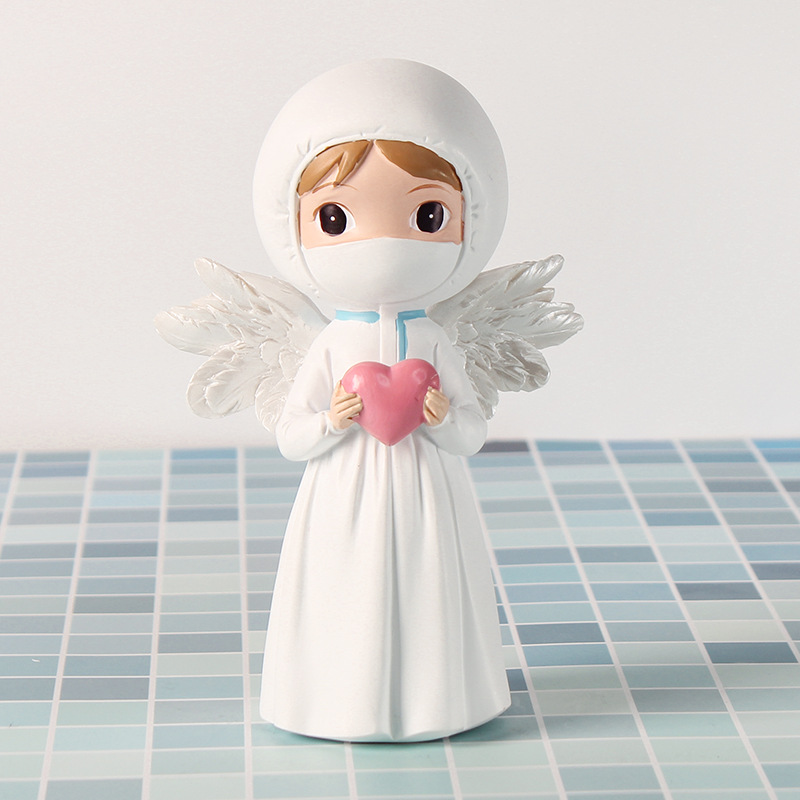 Cute Resin Craft Commemorate Statues Doctor and Nurse Figurines Guardian Angel Sculpture Home Decoration 2020