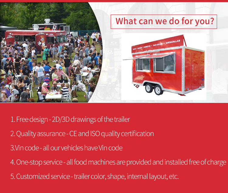 Black Food Truck Mobile Food Cart Trailer Ice Cream Food Truck Street for Sale