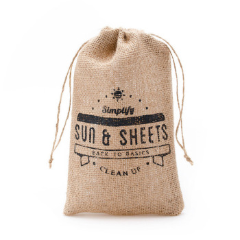 Eco Small Jute Drawstring bag customized logo food bag