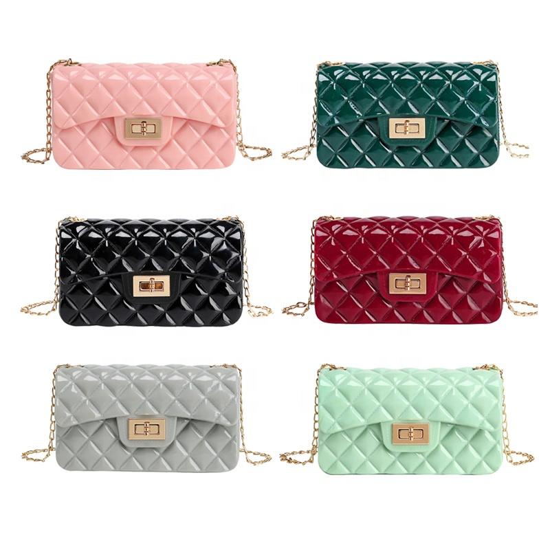 2020 Fashion lady chain shoulder small hand bags women clear purse handbag clear jelly purse and handbags