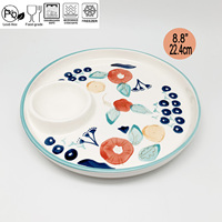 8.8 Inch Fresh Flower Ceramic Dumpling Tray Ceramic Plate With Saucer With Green Edge