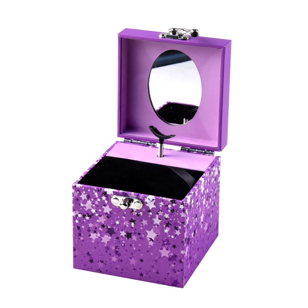 Purple color new design paper girls ballerina musical jewelry box