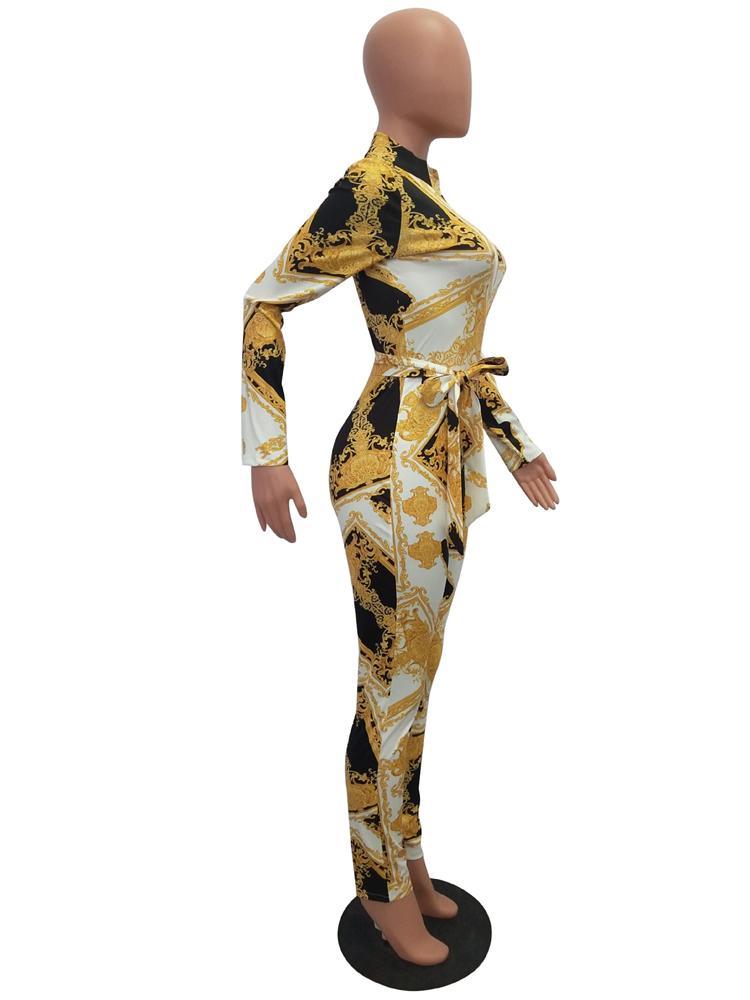 C3766 Sexy zip up v neck long sleeve digital printing belt fashion woman slim jumpsuit