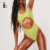 Yellow Glitter Crinkle Cut Out One Piece High Leg Swimsuit