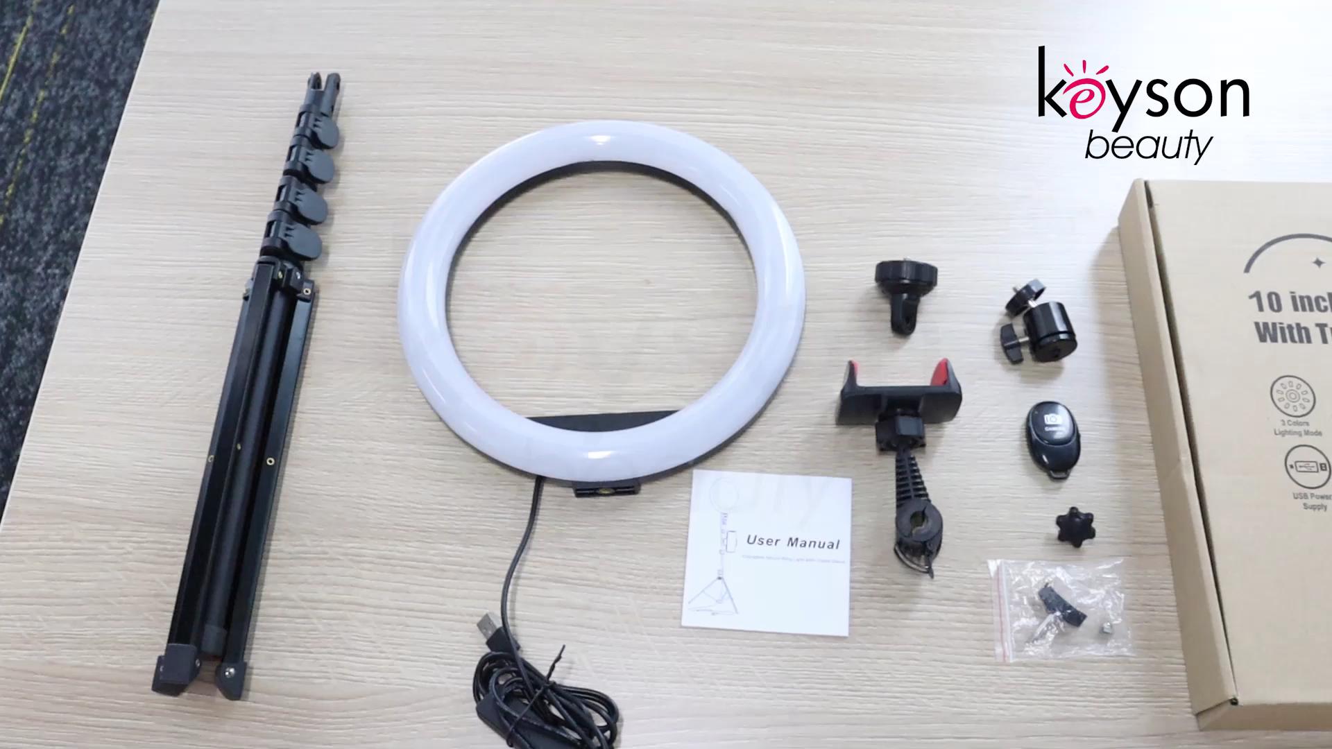 Keyson 8 pollici selfie anello di luce con il supporto del telefono anello di luce con il treppiedi del basamento Per Streaming In Diretta di Trucco Youtube Video