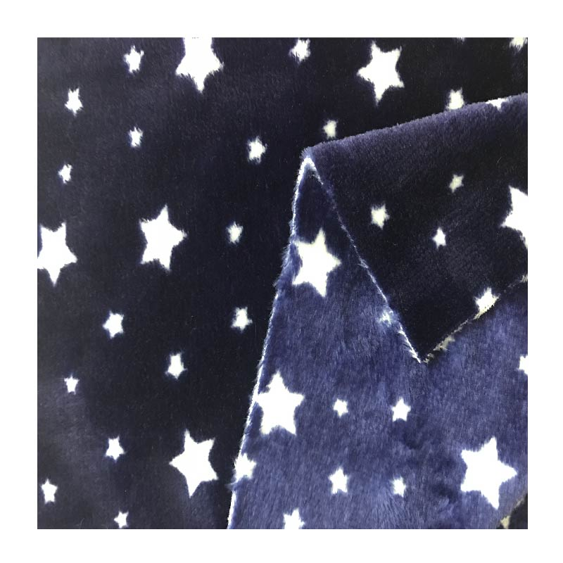 Double sides star printing coral fleece fabric for beautiful pajama