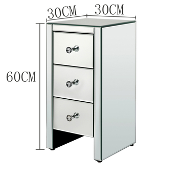 Free Shipping Modern Bedroom Furniture 3 Drawer Glass Mirrored Nightstand Bedside Table