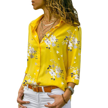 Custom Wholesale 2019 Office Women's xxxl Size New Tops Latest Floral Street Fashion Long Sleeve Women Blouse Chiffon