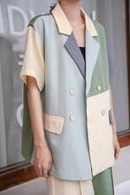Женский офисный Блейзер HziriP, свободный офисный блейзер с коротким рукавом, с прострочкой, в стиле минимализма, лето 2020(Китай)