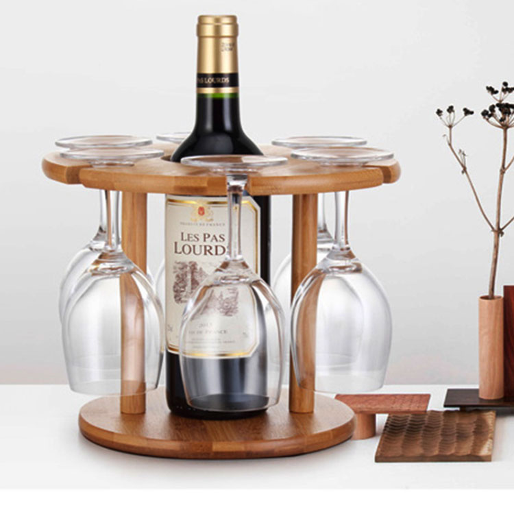 Wine Bottle Holder Bamboo Glass Hanging Drying Stand Bamboo Wine Holder 3