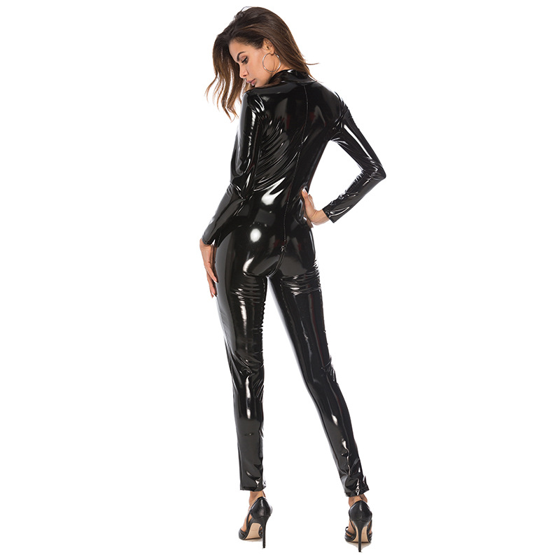 Sexy Women Faux Leather Catsuit PVC Latex Bodysuit Front Zipper Open Crotch Jumpsuits Stretch bodystocking Erotic costumes