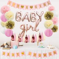 Pink and Gold Theme It's a Girl Baby Shower Party Decoration Supplies Kit With Banner Balloons Pom Poms Decoration
