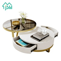 Living room furniture luxury stainless steel round centre coffee table
