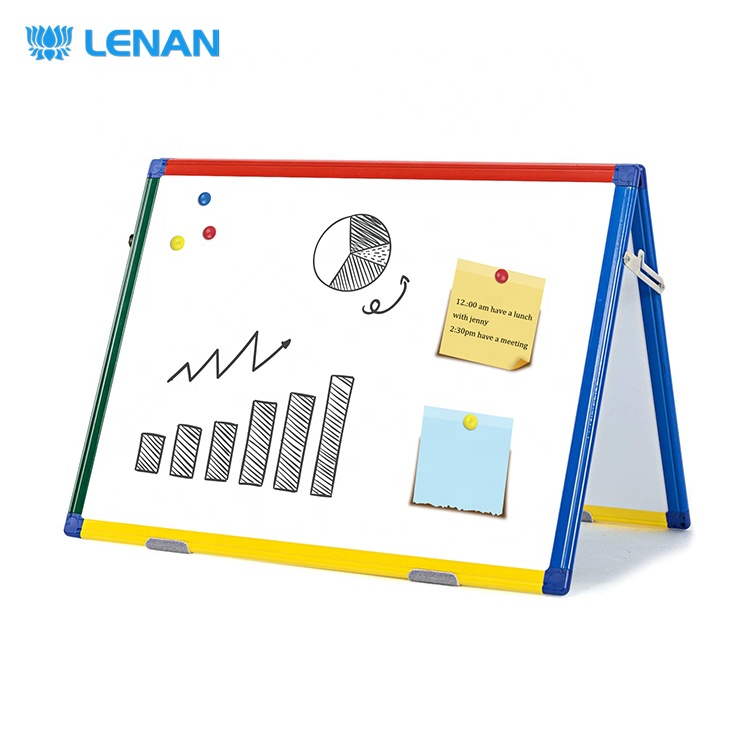 Double side small desktop magnetic dry erase white board easel mini tabletop foldable whiteboard