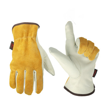Ozero brand Cow Yellow Leather Safety Work Gloves for Working
