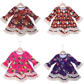 fall winter long sleeve milk silk lace ruffle boutique print pattern holiday halloween gost cute frock design for baby girl