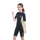 Roll over image to zoom in 2.5mm Kids Shorty Wetsuit, Boys and Girls Full Body Thermal Neoprene Swimsuit, Back Zip Wet Suit for