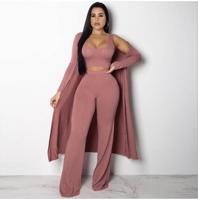 3 piece suits ribbed jumpsuit with long coat