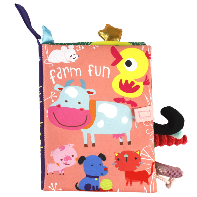 Dinosaur ocean Farm Jungle tail Animals story book baby soft Fabric cloth book for Baby toy