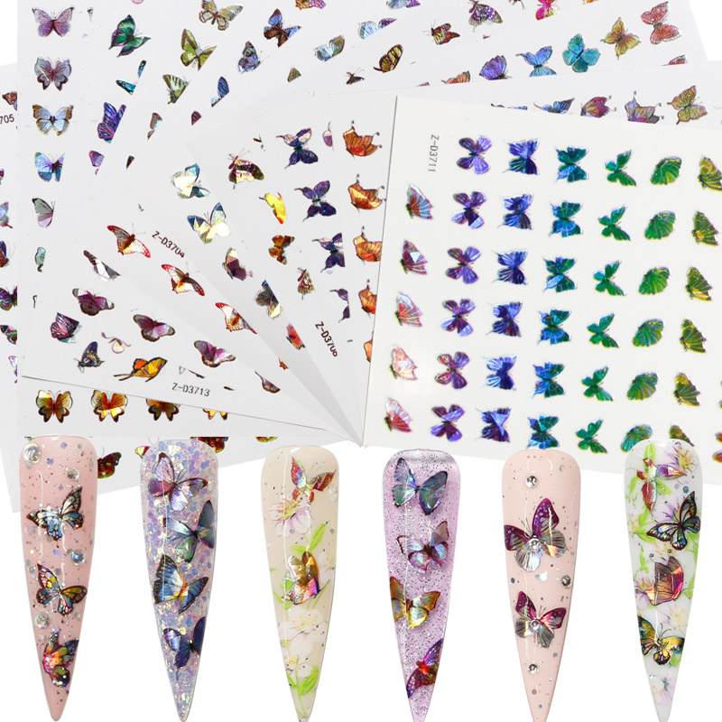 Laser Butterfly Fantasy 3D <strong>Nail</strong> Decal <strong>Stickers</strong> <strong>Nail</strong> Art Decorations Holographic <strong>Nail</strong> <strong>Sticker</strong>