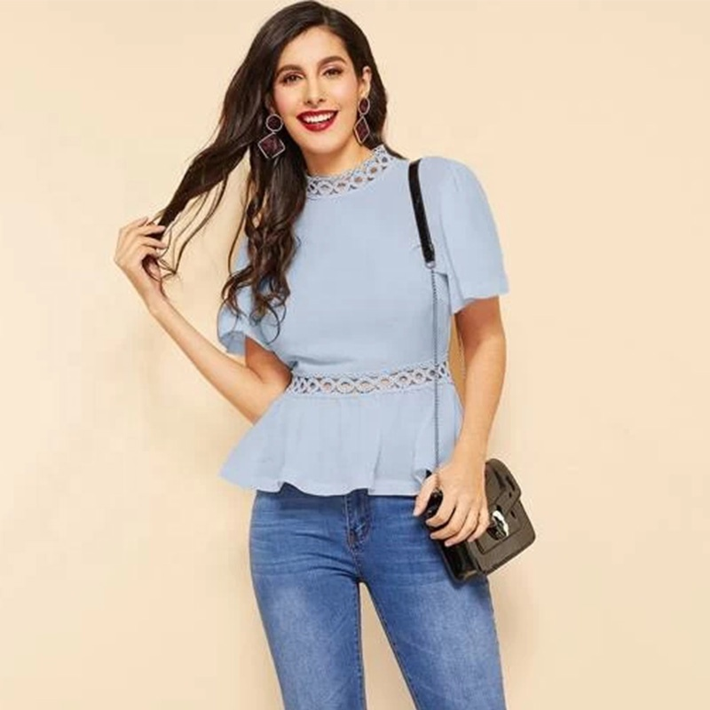 Blue elegant lady <strong>blouse</strong> guipure <strong>lace</strong> insert flutter sleeve peplum summer top women