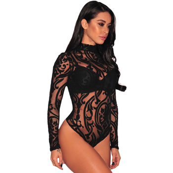 Mesh Print Mock Neckline Long Sleeves Women Transparent Sexy Bodysuit