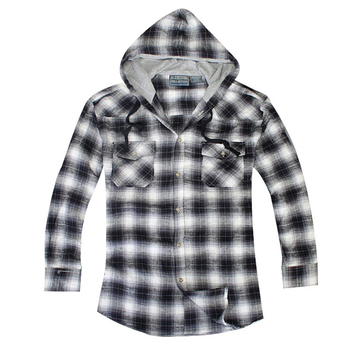 Custom logo high quality mens thick blue flannel plaid shirts two chest pockets with hood winter shirt