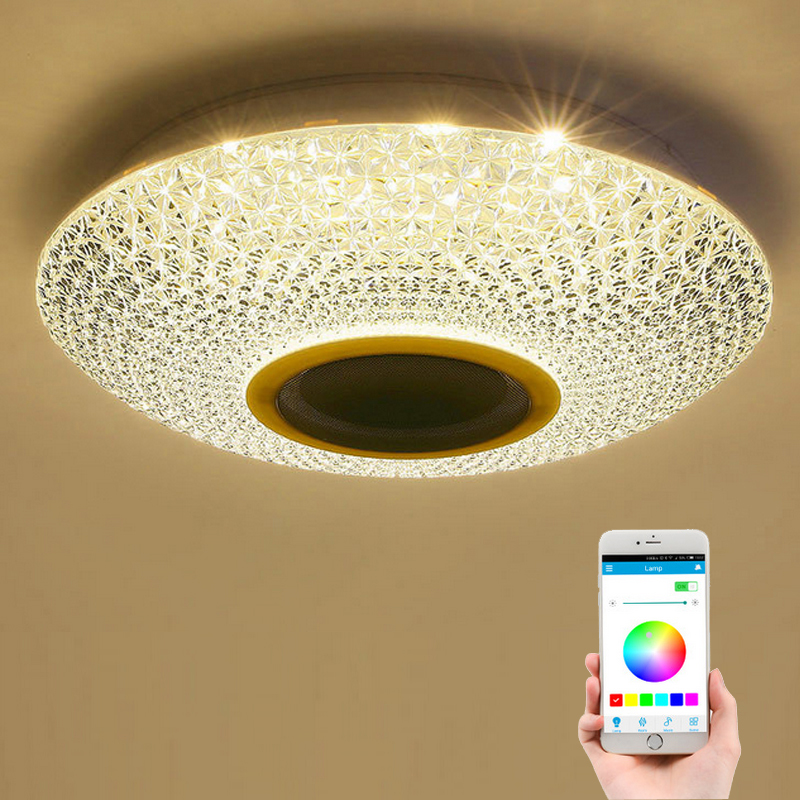 RGBW Crystal LED Ceiling Light with Bluetooth Speaker 30W 100-240V AC RGB+CCT+Dimmable iLink APP Timer with IR Remote 40*40*10cm