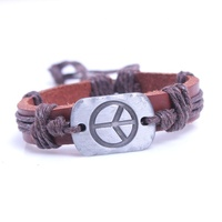 Adjustable The World Peace symbol alloy charm wax rope leather bracelet for gift