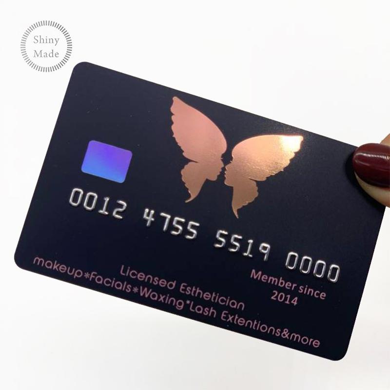 Wholesale cheap customized Lashes logo visa credit card size pink pvc membership card holographic eyelashes business card