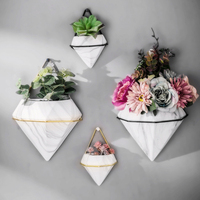 Custom Marble pattern wall-mounted home decoration Diamond flower pot ceramic vase