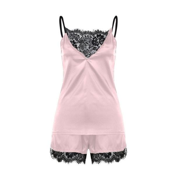 Women Lace Satin Lingerie Sleepwear pyjamas Sets Ladies Sexy Babydoll Silk Nightwear Night Dress chemise de nuit Nightgowns