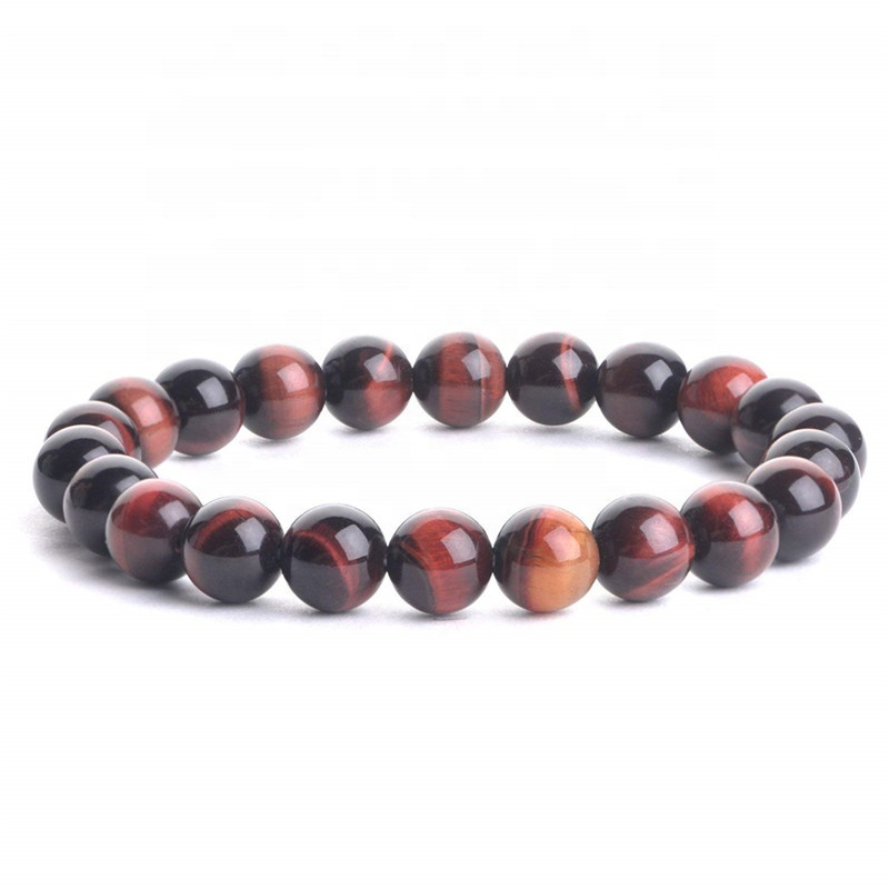 Hot Selling Natural 8mm <strong>Red</strong> <strong>Tiger</strong> <strong>Eye</strong> Stone Energy Healing Stretch Beaded <strong>Bracelet</strong> For Unisex