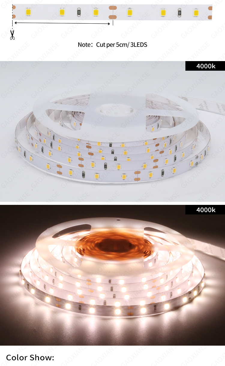 12V 2835 60LED/M 8MM IP20 IP33 4000K Natural white CRI90 CRI95 CRI97 CRI98  LED Strip Lights