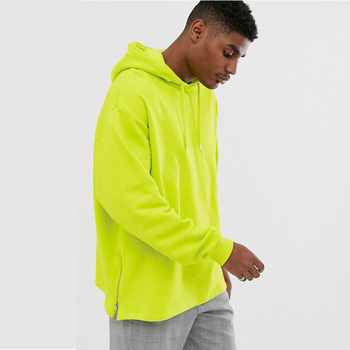 Wholesale Bulk Men Heavy Cotton Anti-pilling Neon Green Side Zipper Design Hoodie Oversize