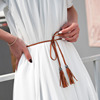 fashion hand-knit long leather designer braid waist belt with tassel party belts & cummerbunds for women girls string waistband