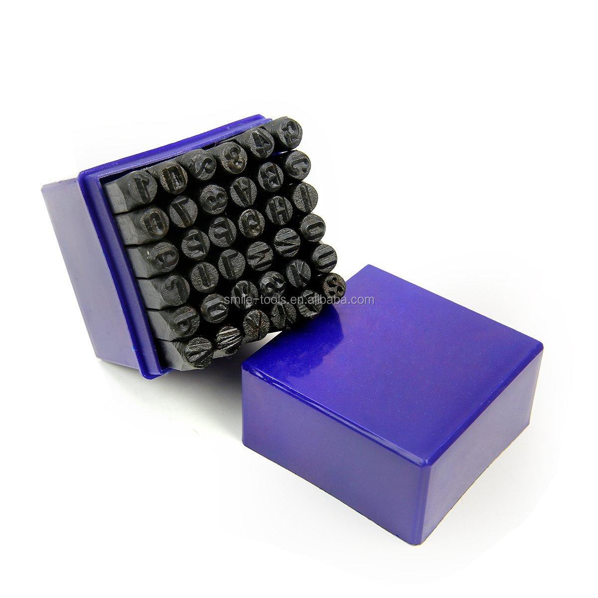 Smiletools वर्ण पत्र संख्या धातु घूंसे सेट हाथ पकड़ स्टाम्प सेट 4mm