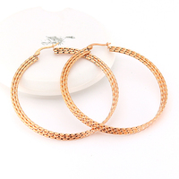 Korean style fashion metal exaggerated big ear buckle twist three round line hypoallergenic stainless steel earrings